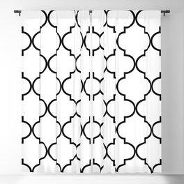 Quatrefoil - black on white Blackout Curtain