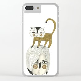Cat Head Clear iPhone Case