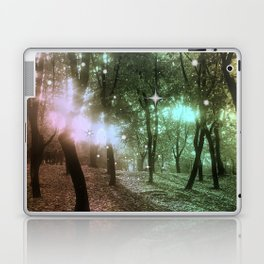 Forest by dawn in green, yellow and fuchsia light Laptop & iPad Skin