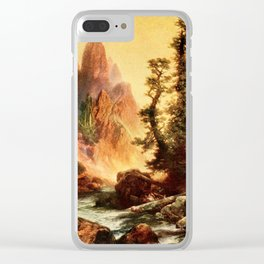 Moran, Thomas (1837-1926)  - Three wonderlands of the American West 1912 - Tower Creek, Yosemit Clear iPhone Case
