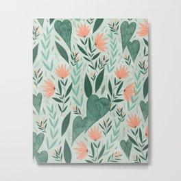 Orange and Mint Garden Metal Print