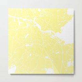 Amsterdam Yellow on White Street Map Metal Print