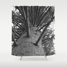 tree black and white photo Shower Curtain