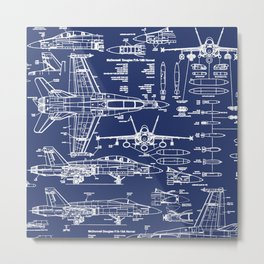 F-18 Blueprints Metal Print