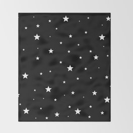 Scattered Stars - white on black Throw Blanket