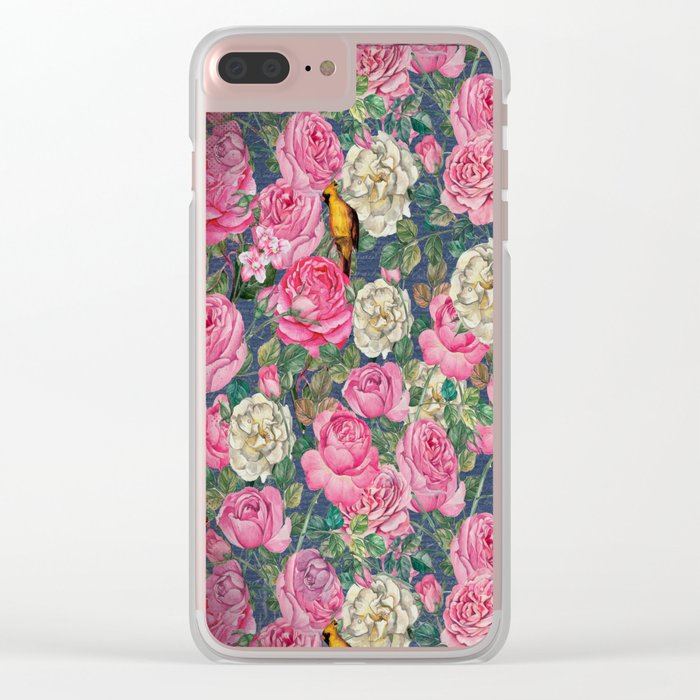 Vintage grunge Floral Rose and Birds Pattern Clear iPhone Case