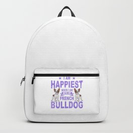 I Am Happiest When I Am With My French Bulldog pu Backpack