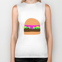 burger Biker Tanks featuring Burger by Sara Hepe