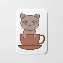 Cute Siam Cat And Coffee Gifts For Cat Lovers Bath Mat