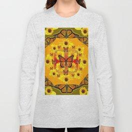 YELLOW SUNFLOWERS & MONARCH BUTTERFLIES Long Sleeve T-shirt