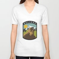 bigfoot V-neck T-shirts featuring Bigfoot Patch by uhohreilly