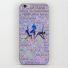 Yoga Asanas/Poses Sanskrit Word Art iPhone Skin