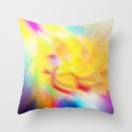 Background of rainbow swirling flower texture Throw Pillow