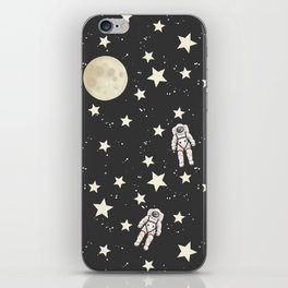 Space - Stars Moon and Astronauts on black iPhone Skin