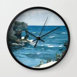 Winslow Homer1 - Rocky Shore, Bermuda - Digital Remastered Edition Wall Clock