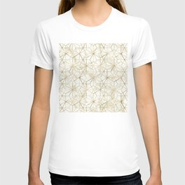 Modern gold and marble geometric star flower image T-shirt