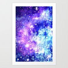 Chaotic Space : Galaxy Bright Purple & Blue Art Print