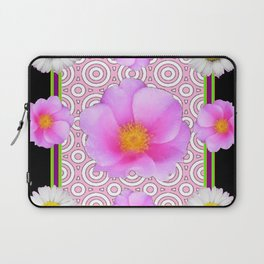 Modern Art Style Shasta Daisy Pink Roses  Black Color Abstract art Laptop Sleeve