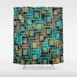 Black and White Squares Pattern 07 Shower Curtain