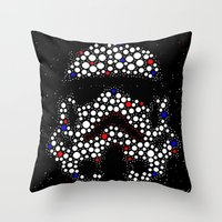 stormtrooper Throw Pillows featuring Stormtrooper by Saundra Myles