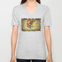 State flag of Illinois with grungy vintage textures Unisex V-Neck