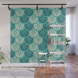 Mid Century Modern Flower Pattern Turquoise and Teal 112 Wall Mural