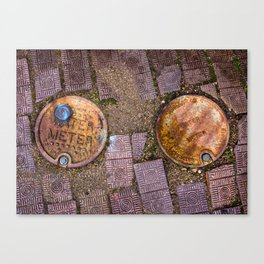 Water Meter Caps, from my street photography collection Canvas Print