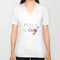 polygon V-neck T-shirts featuring LOW POLYGON by mountstar