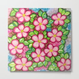 Cherry Blossom Square for Jeanie & Darry Metal Print