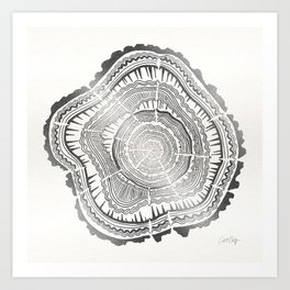 Growth Rings – 65 Years – Silver Art Print