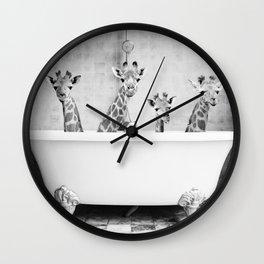 Four Giraffes in a Bath (bw) Wall Clock