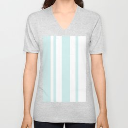 Mixed Vertical Stripes - White and Light Cyan Unisex V-Neck
