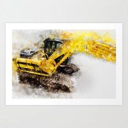 JCB JS130 360 Excavator Art Print