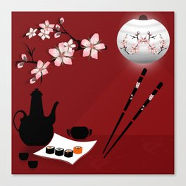 Oriental cuisine . Sushi and rolls . Canvas Print