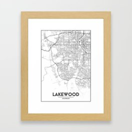 Minimal City Maps - Map Of Lakewood, Colorado, United States Framed Art Print