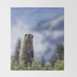 Marmot Checking Out His Neighborhood at Mount Rainier, No. 3 Throw Blanket