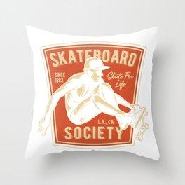 Skateboard Society Throw Pillow