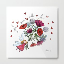 Fairy and Flowers Metal Print