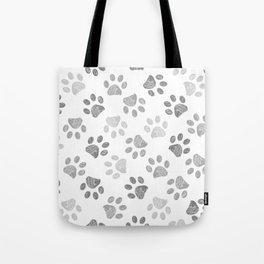 Black and grey paw print pattern Tote Bag