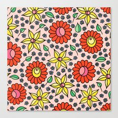 Hungarian embroidery inspired floral - red,yellow,and small flowers Canvas Print
