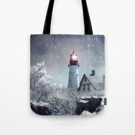 New England Winter Lighthouse Tote Bag