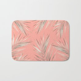 White Gold Palm Leaves on Coral Pink Bath Mat
