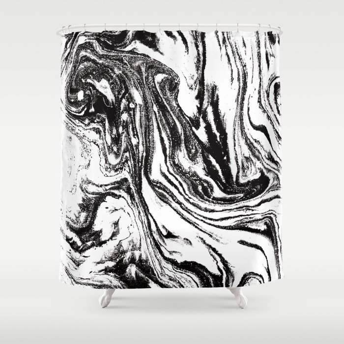 Black And White Marble Watercolor Painting Canvas Art Decor Shower Curtain
