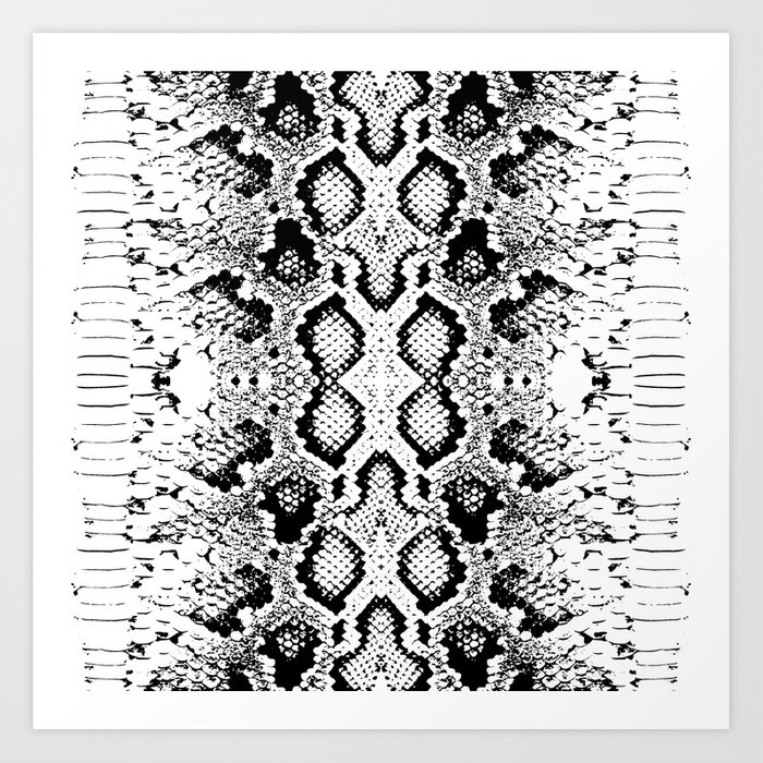 Snake Skin Texture Black White Simple Ornamen Art Print By Ekaterinap