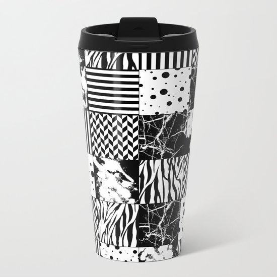 Eclectic Black and White Squares Metal Travel Mug