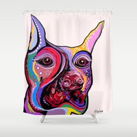 doberman Shower Curtains featuring Doberman by EloiseArt