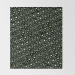 Cryptid Pattern: Green Lines Throw Blanket