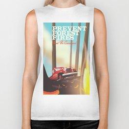 "Prevent forest Fires ""Don't be careless"" Biker Tank"
