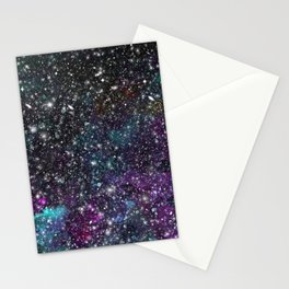 New Space - Watercolor Galaxy Painting Laced with Stars Stationery Cards