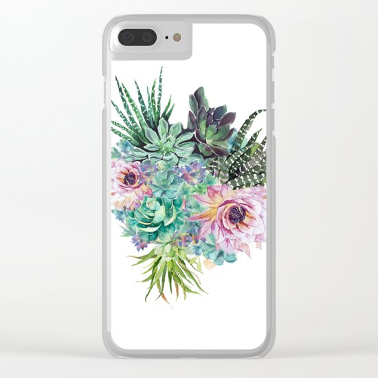 Succulent Bouquet Clear iPhone Case